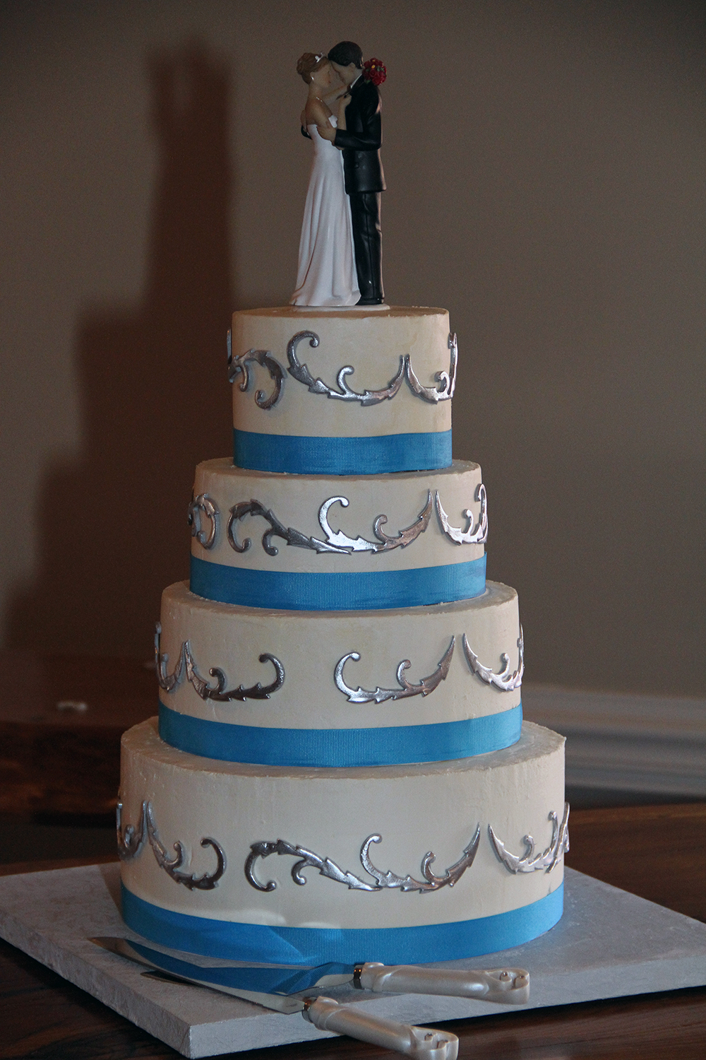 Sarah silver scroll and blue ribbon wedding cakes pinterest
