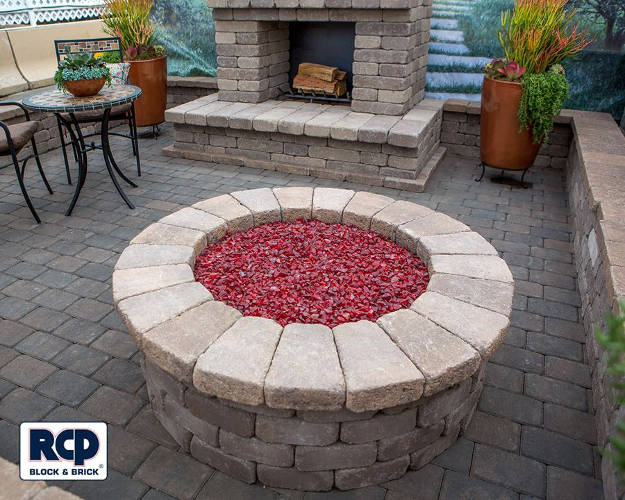 Unique Fire Pit With Red Fire Glass Check Out All The Other