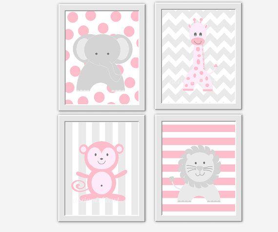 Baby Nursery Wall Art Pink Gray Elephant Giraffe Monkey Safari