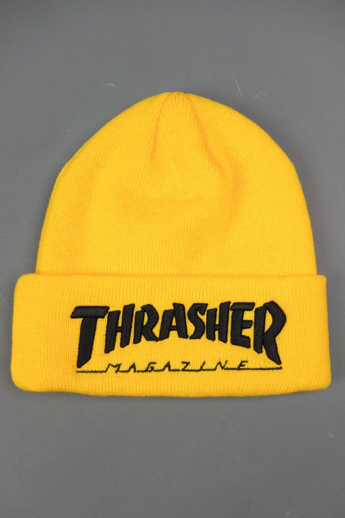 THRASHER MAG LOGO BEANIE YELLOW BLACK  016e8d69b91