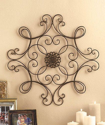 Wire Wall Decor square scrolled metal wall medallion decor | on my wall deco