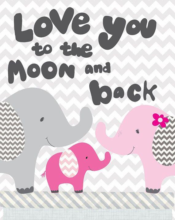 Nursery Art moon and back art print elephant by FriendshipFalls, $14.00