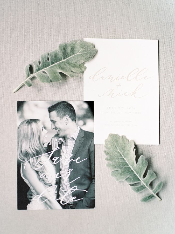 Hand-calligraphed wedding invitations and dusty miller leaves: http://www.stylemepretty.com/2016/09/25/handwritten-notes-served-as-escort-cards-for-their-300-guests/ Photography: Michelle Lange - http://www.loveandbemarried.com/