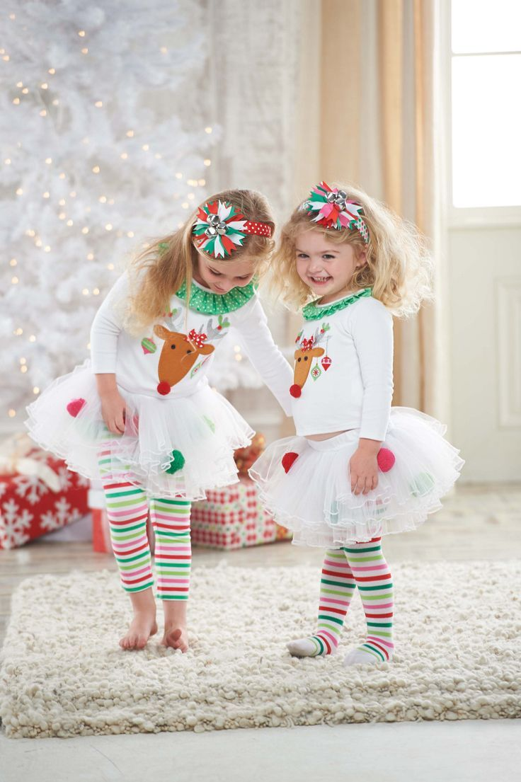 Mud Pie Girl\'s Christmas Outfit: Infant or Toddler White Reindeer ...