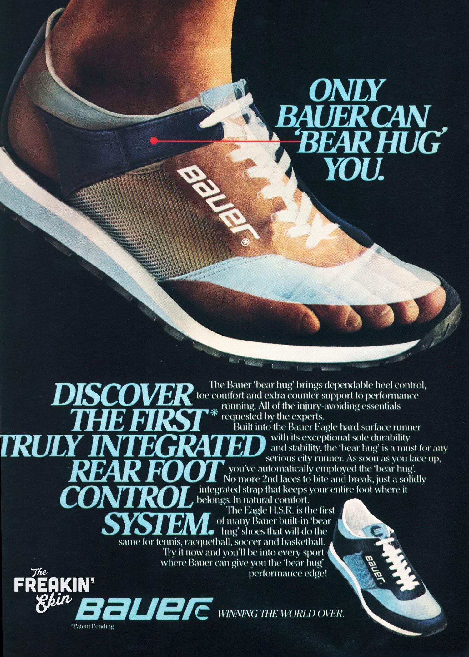 86d2dca30b831 Bauer Eagle H.S.R 1980  Bear Hug  vintage running shoes ad   The Freakin   Ekin