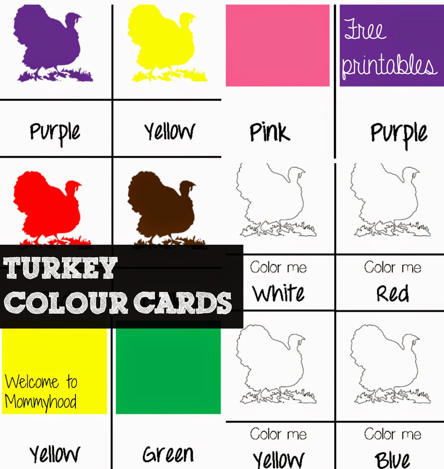 Turkey Coloring Cards And Color Activities For Toddlers