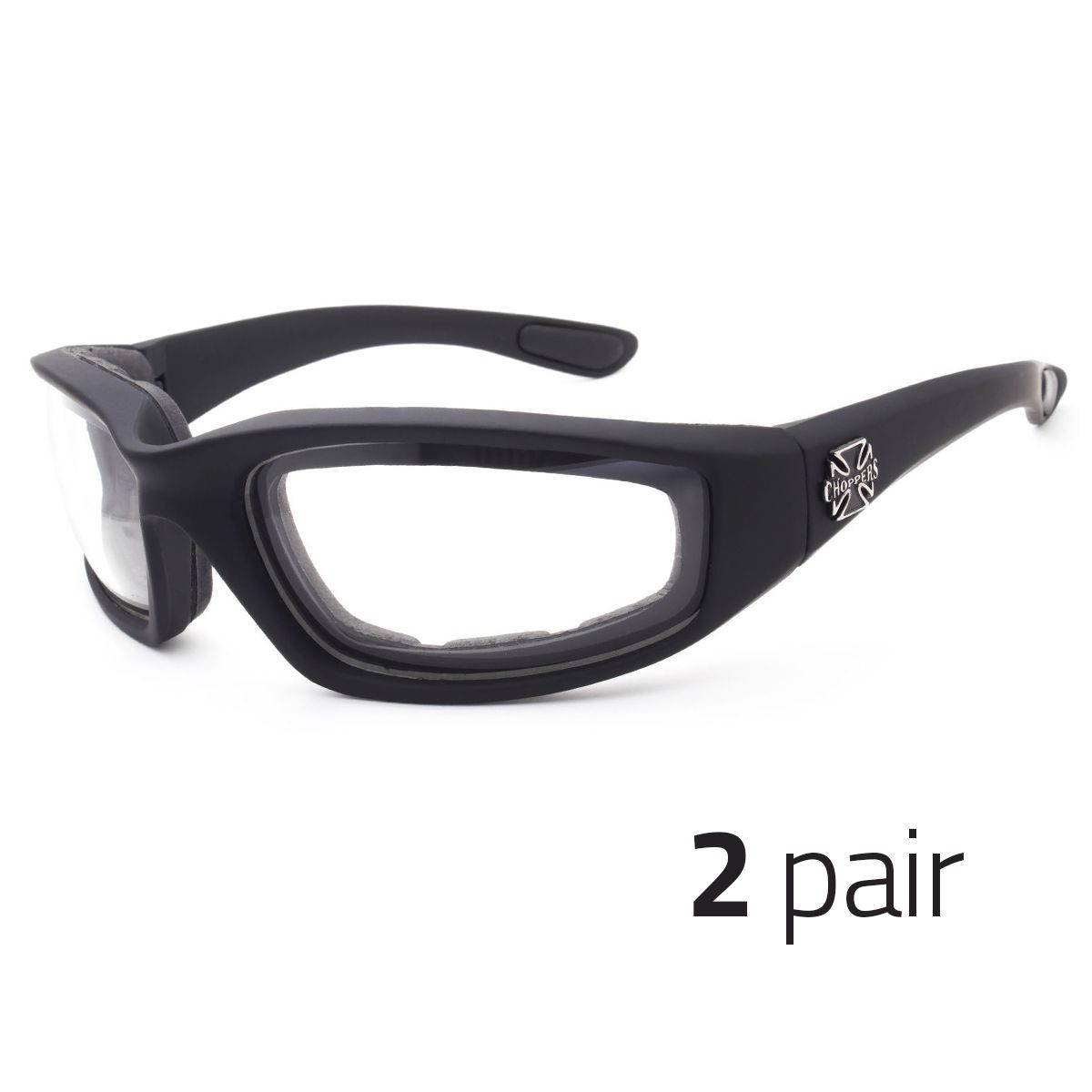 8931029b894 2 Pc Chopper Wind Resistant Sunglasses Sports Motorcycle Riding Glasses  Clear X