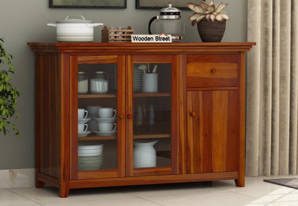 Buy Earnville Kitchen Cabinet (Honey Finish) Online in ...