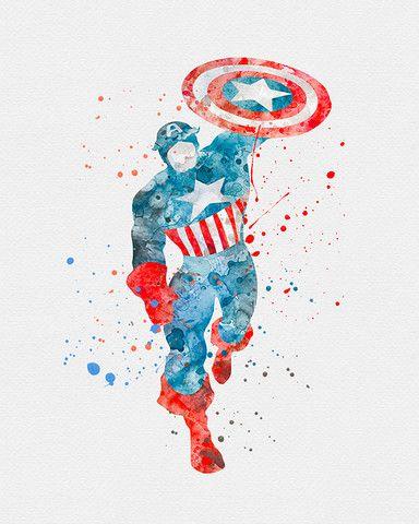 Plateia.co #ValoralaDiversidad #CreatividadsinLimites #PlateiaColombia #comics Captain America Marvel Watercolor Art - VividEditions