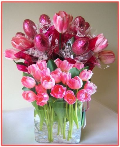 Pink tulips this beautiful tulips themed gift bag is bursting with pink tulips this beautiful tulips themed gift bag is bursting with a wonderful easter eggs bouquet matching floral enhancement negle Images