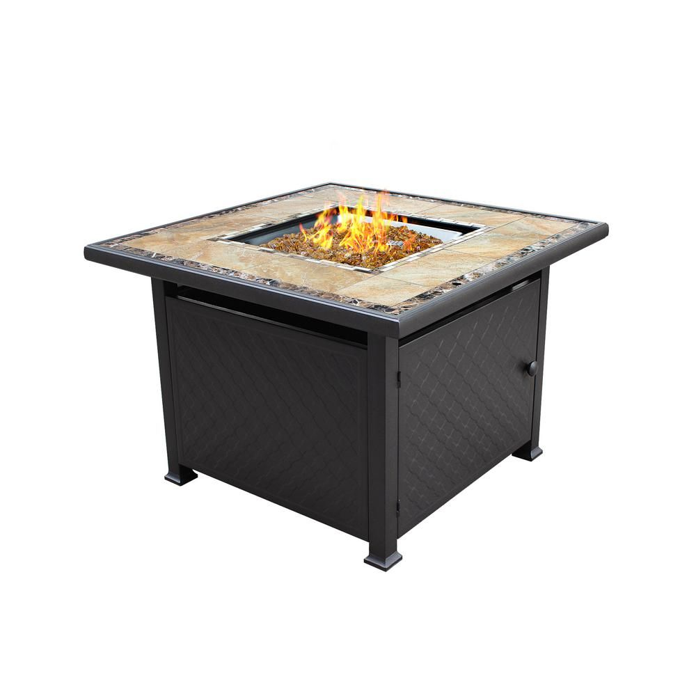 40 In X 25 In Square Marble Tile Top Propane Fire Pit Gft 51030a The Home Depot In 2020 Fire Pit Table Propane Fire Pit Table Outdoor Fire Pit