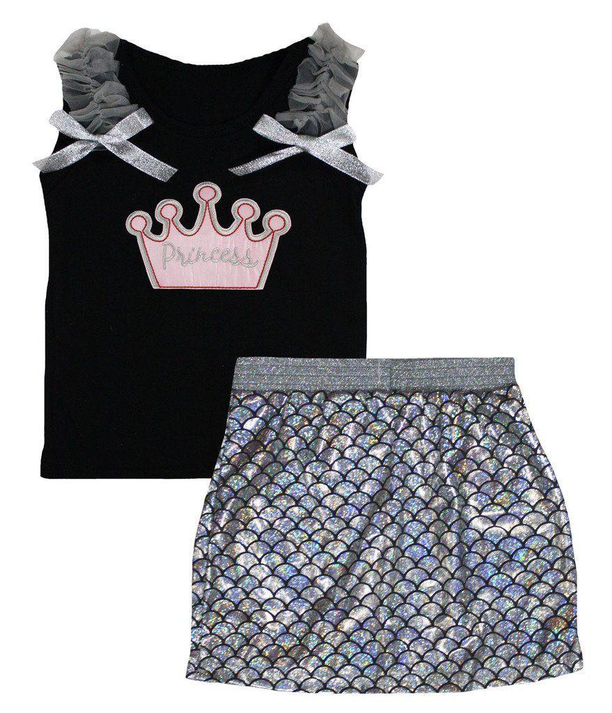 Petitebella Princess Crown Black Shirt Silver Fish Scale Mermaid Skirt Set 1-8y