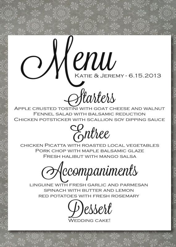 wedding menu via etsy can do this on your own but here it s too