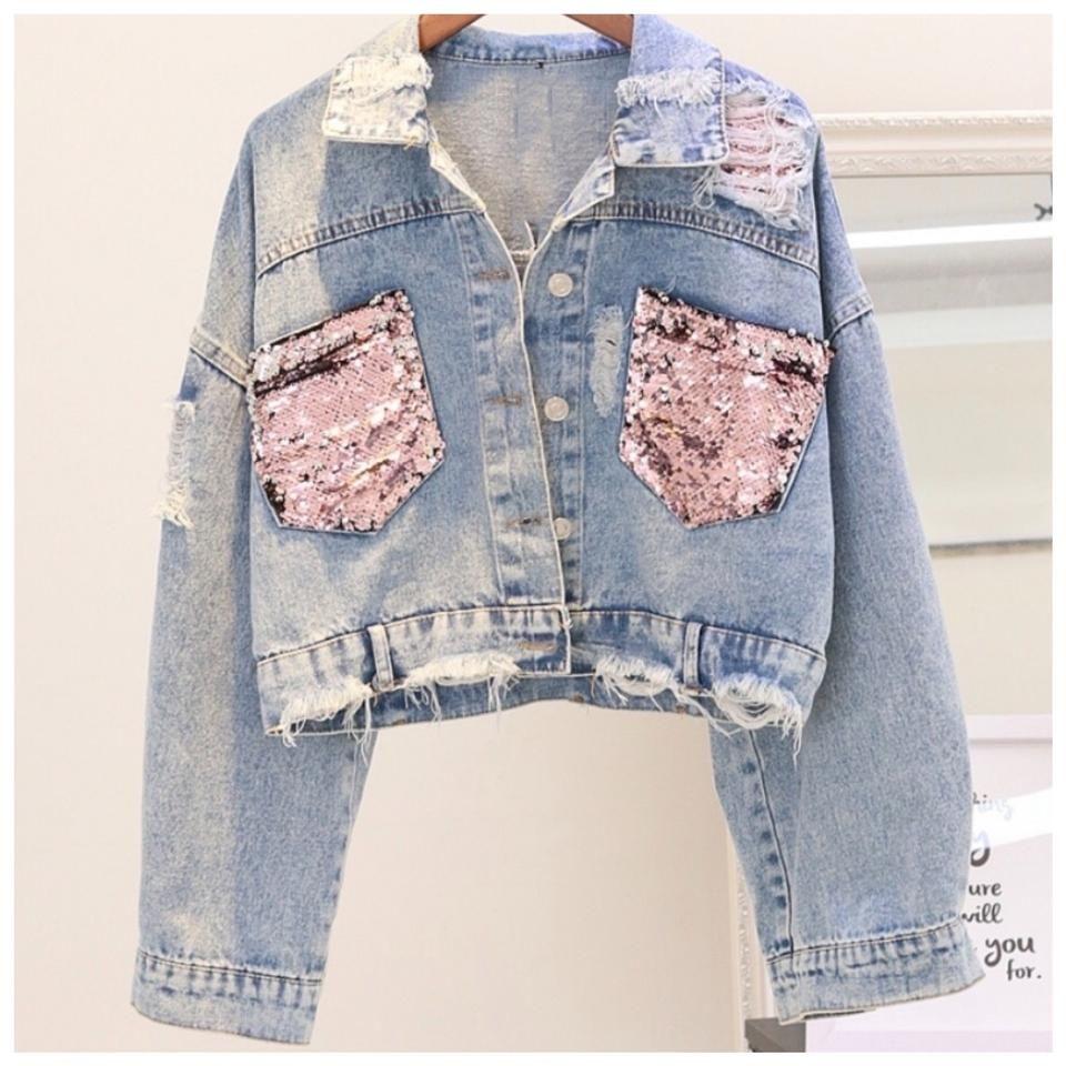 Unbranded Blue Pink The Shantice Sequin Distressed Jean Jacket Size 6 S Denim Jacket Women Jean Jacket Women Denim Fashion [ 960 x 960 Pixel ]