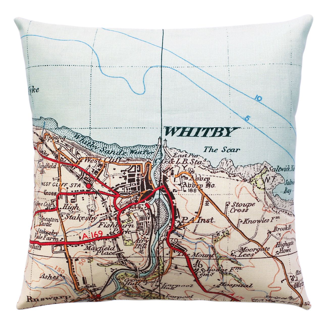 Ordinance Survey Map of Whitby printed on a cushion by Jane Revitt