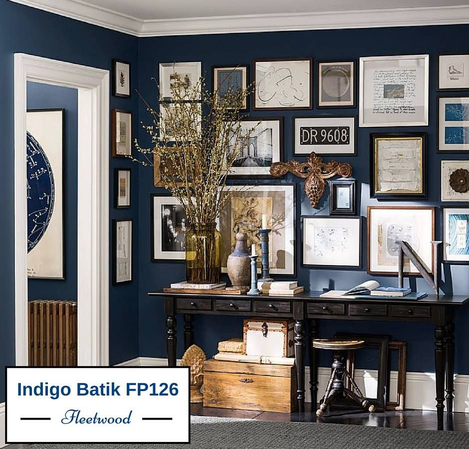 Color art office interiors - Office Wall Art Great Wall Color For A Study Sherwin Williams Naval Sw 6244