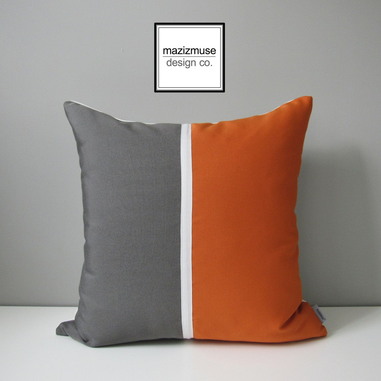 Orange Grey Outdoor Pillow Cover