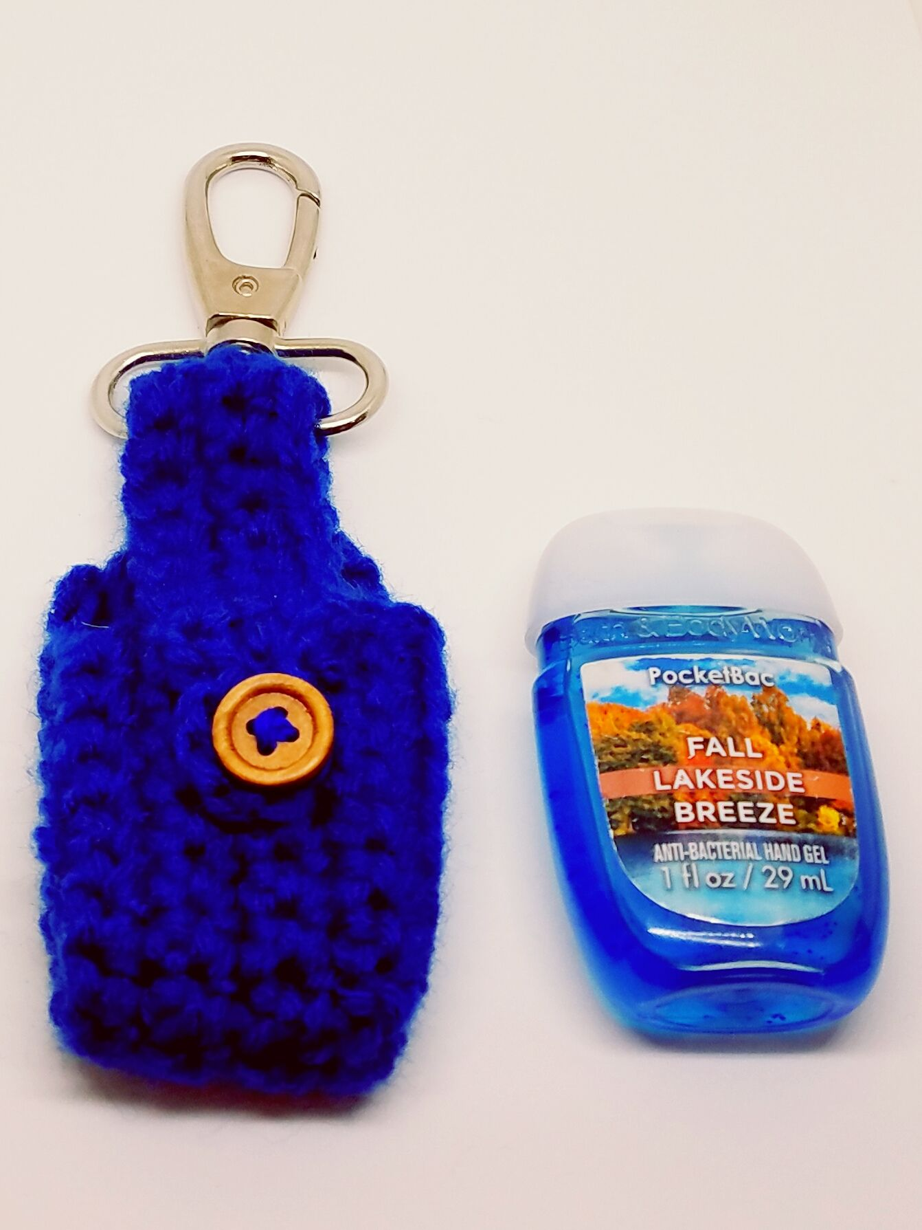 Crochet Royal Blue Hand Sanitizer Clip Royal Blue Pocketbac