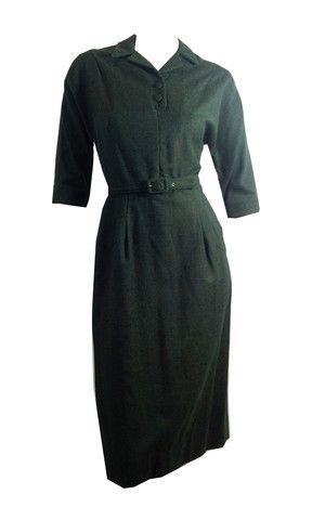Hitchcock Girl Green Flecked Wool Dress circa 1950s - Dorothea's Closet Vintage