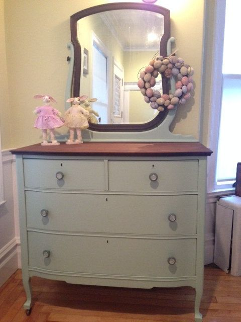 Hand Painted Antique Dresser Mirror And Night Stand On Etsy