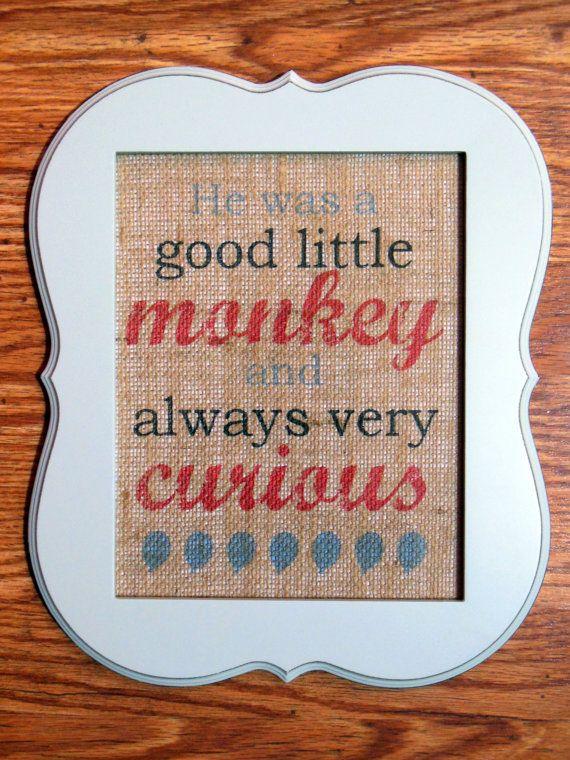Curious George - Burlap Wall Art Unframed, 8\