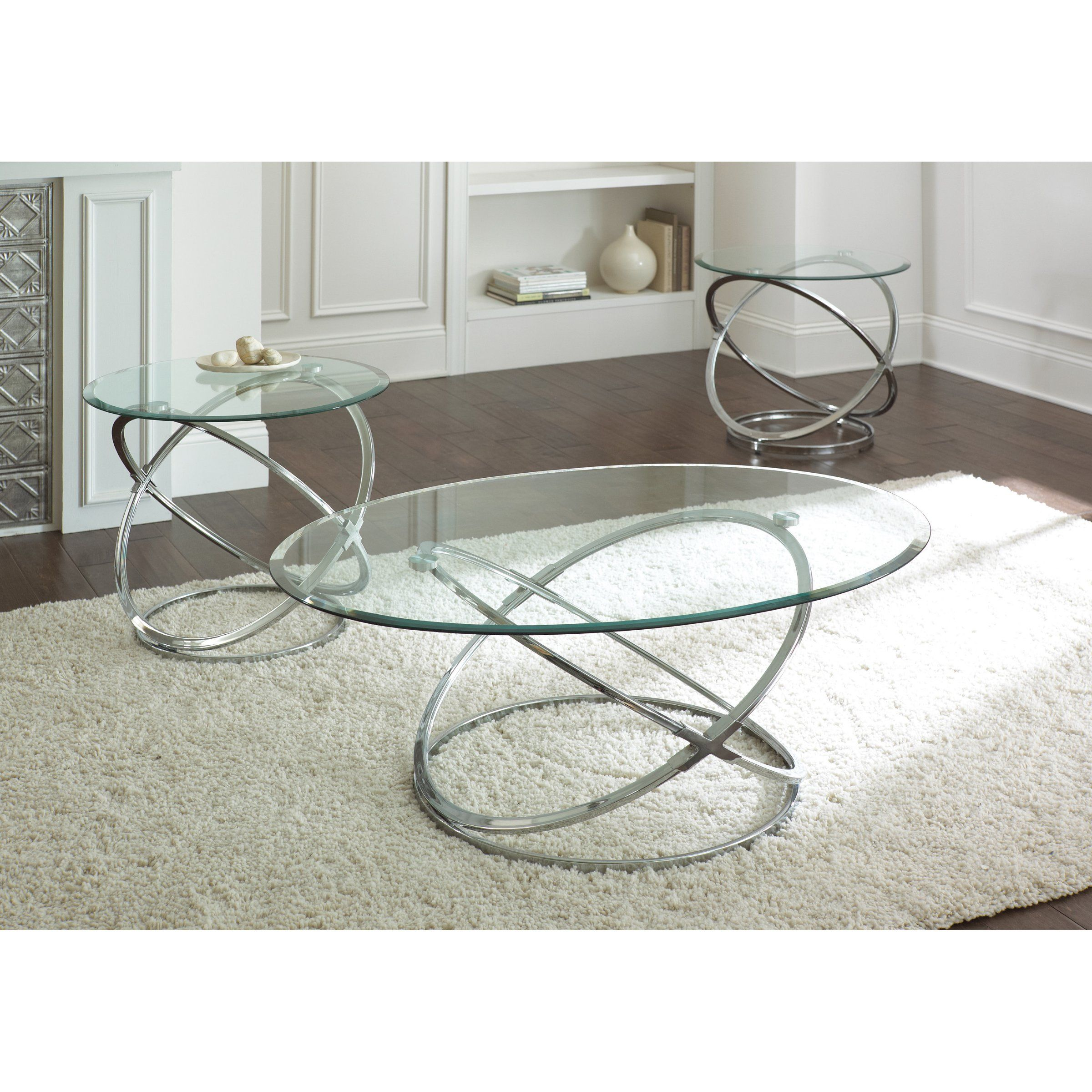 Steve Silver Orion Oval Chrome And Glass Coffee Table Set 3