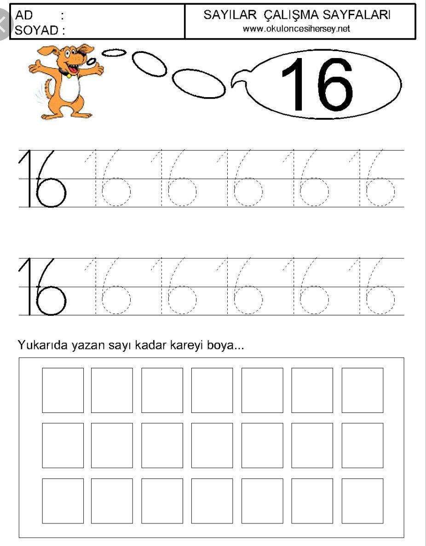 16 Rakamı Rakamlar Word Search