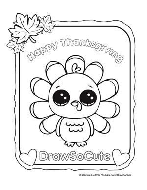 Coloring Pages Draw So Cute Fall Turkey Coloring Pages Cute