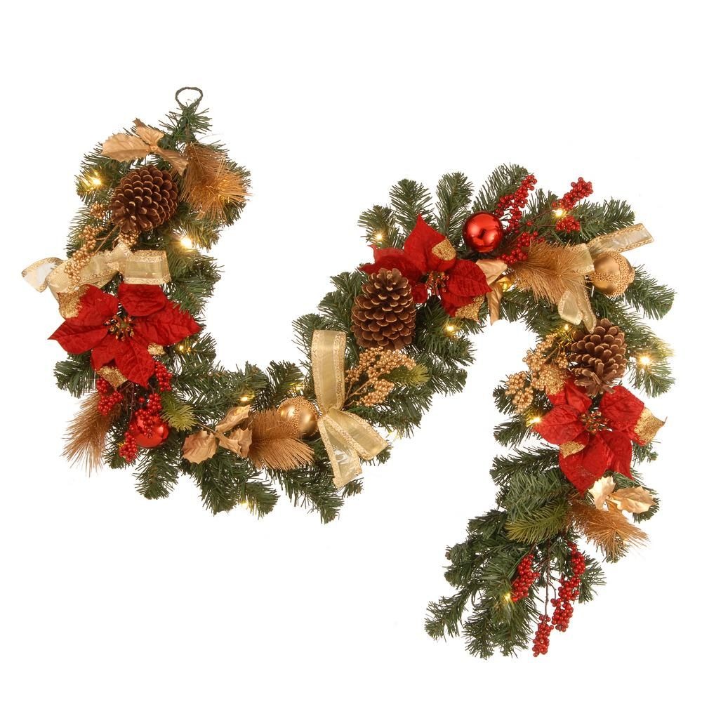 National Tree Company 6 Ft Decorative Garland With Ornaments Berries Cones Red Ribbon Poinsettias And 20 L Garland Decor Christmas Garland Holiday Garlands
