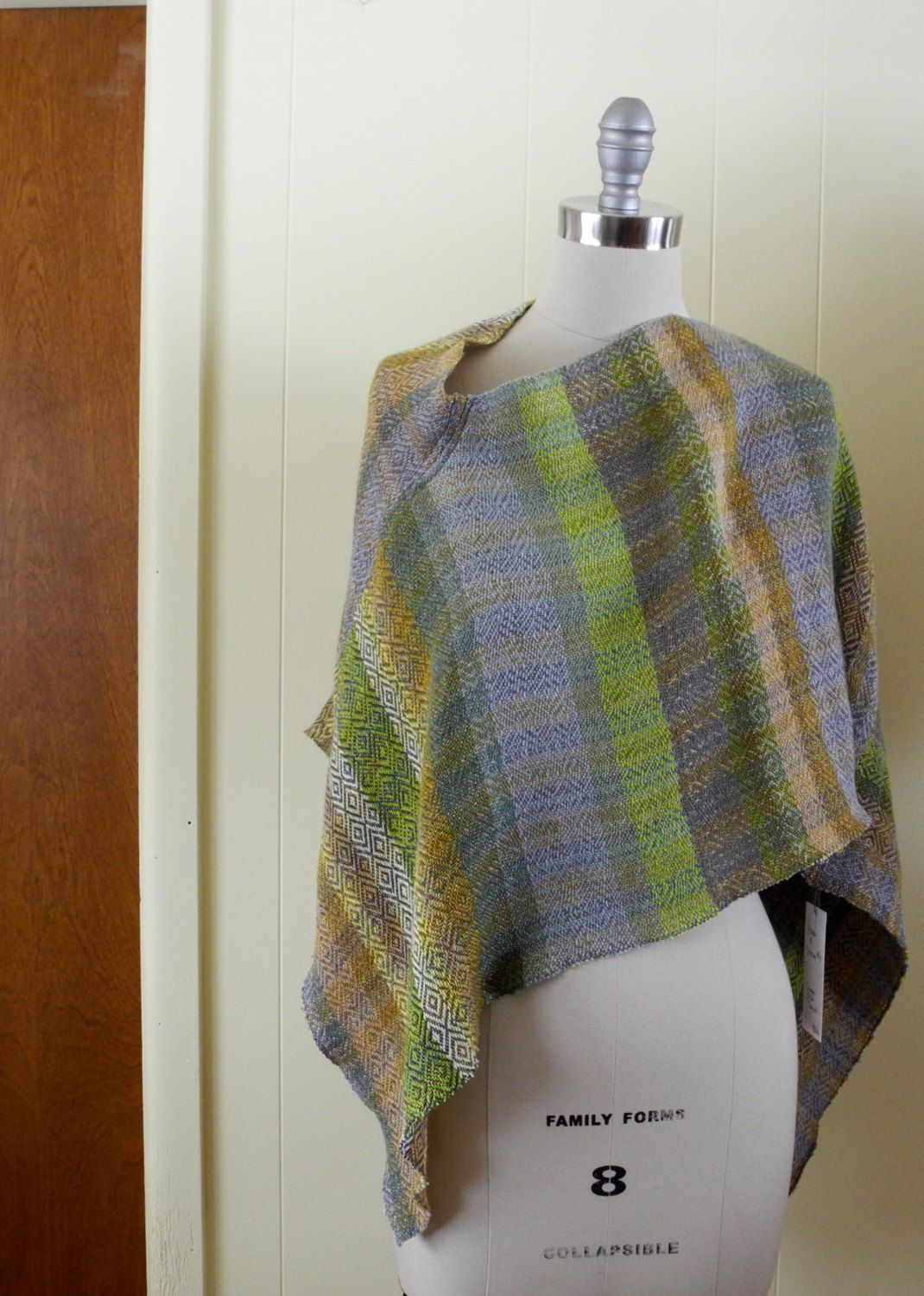 Handwoven Poncho, Handwoven Patterned Triangle Shawl, Silk, Tencel, Linen by riverweavestudio on Etsy