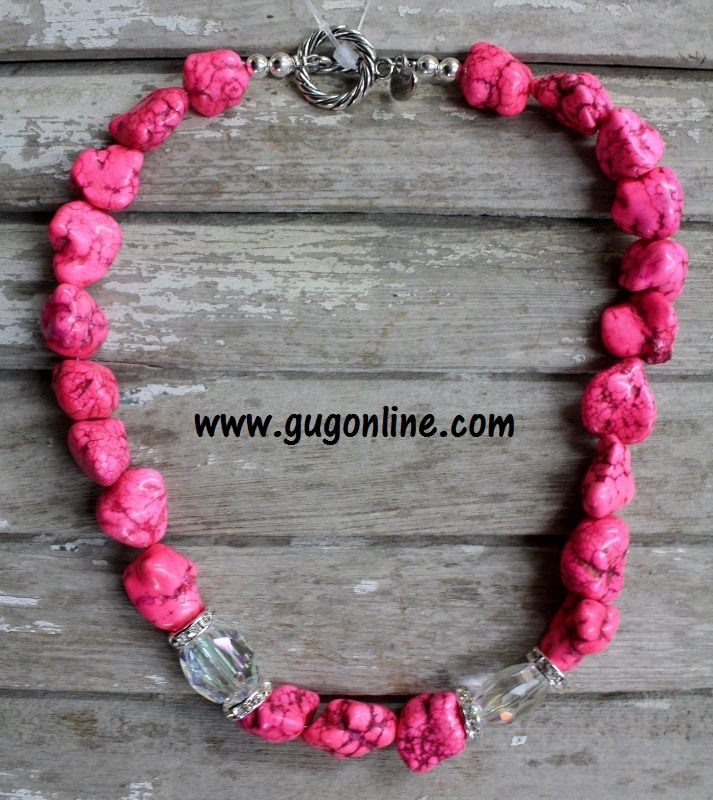GUG Hand Strung Medium Pink Nuggets With Crystals and Diamond Rondells $25.00 www.gugonline.com