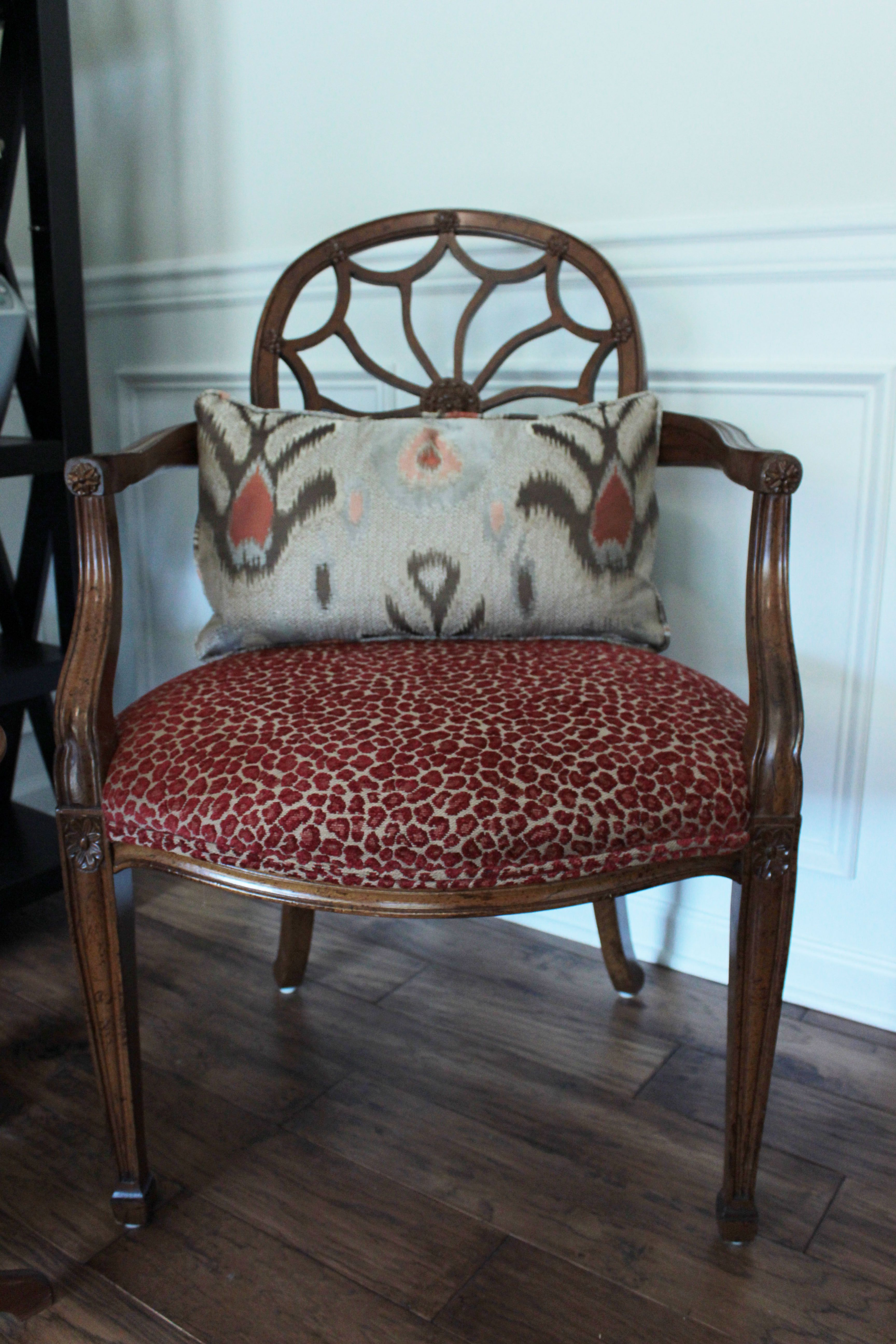 Reupholstered Dining Chair Chenille Red Leopard Print Custom Ikat