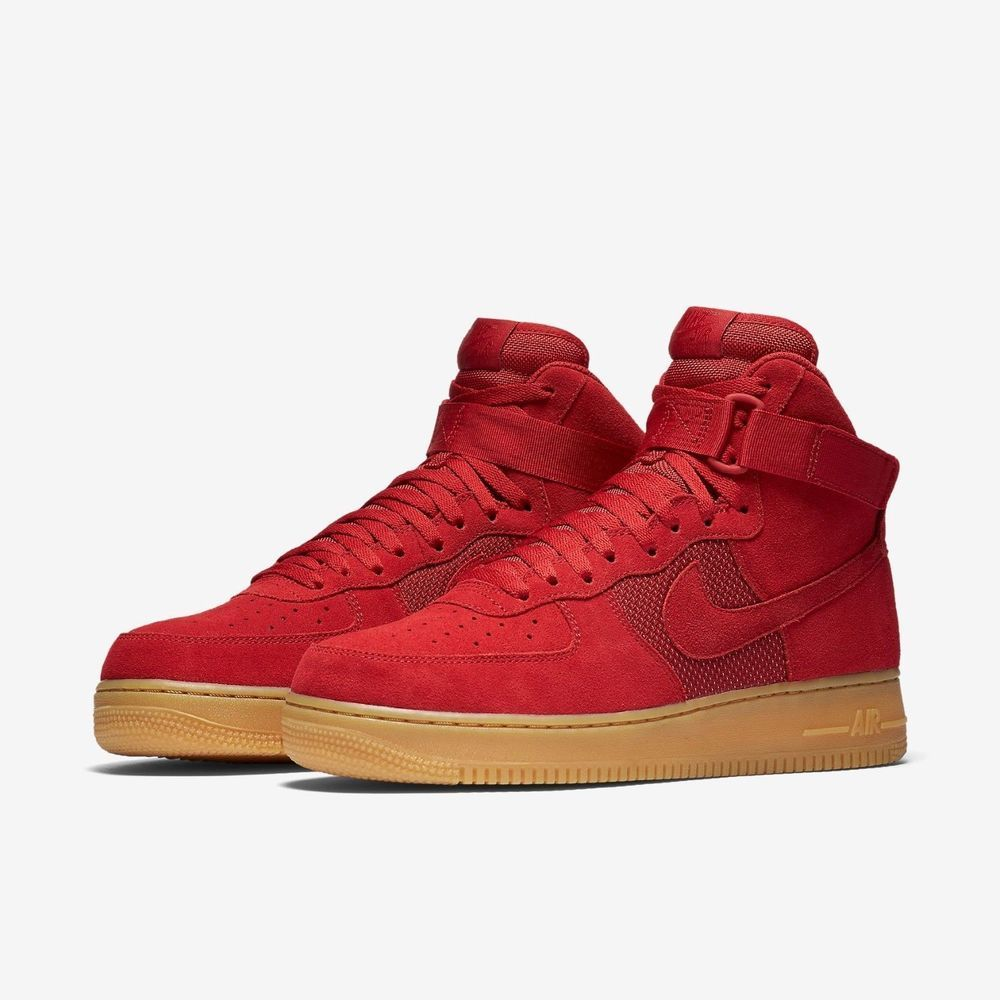 buy online 4f1f1 782ab New Men s Nike Air Force 1 High  07 LV8 (806403-601) Gym Red Gum Lt Brown  Sz 9   eBay