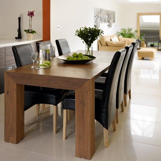 Gorgeous Dark Wood Dining Table Design: Awesome Dark Wood Dining Table  Marble Floor Design Ideas
