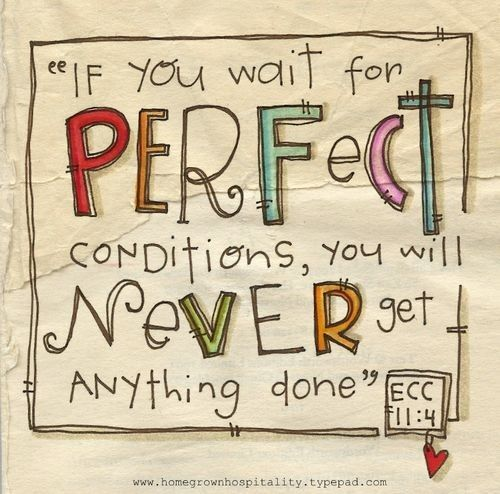 """""""If you wait for perfect conditions, you will never get anything done."""""""