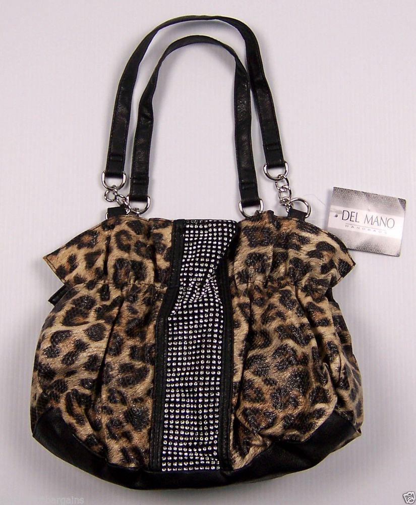 Del Mano Womens Handbag Leopard Animal Print Rhinestone Design Purse #DelMano #TotesShoppers