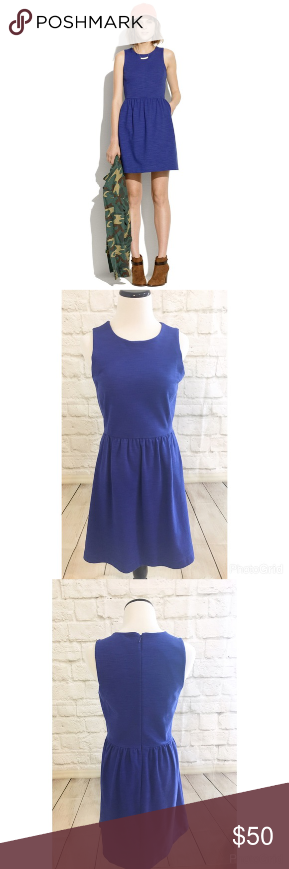 "Madewell afternoon dress Gorgeous blue color, and thick ponte knit fabric make this the perfect dress. Super comfortable and flattering fit and flare style, with pockets! Size small, great condition, gently worn. No flaws. Bust 17"" waist 14""  length 34"" Madewell Dresses"