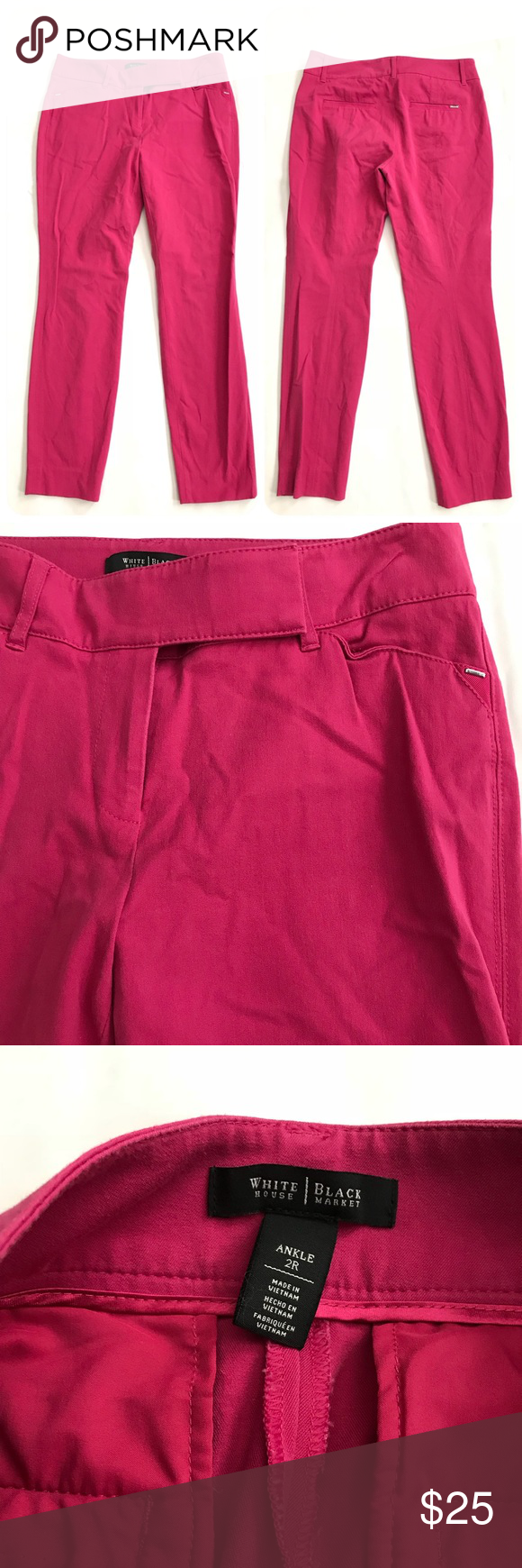 """White House Black Market Pink Ankle Pants Size 2R White House Black Market Pink Ankle Pants Size 2R  -  Two Front & Two Back Pockets -  Tapered  -  52% Cotton 41% Rayon 7% Spandex -  Size 2R     Waist Laying flat 15""""     Inseam 27.5""""     Ankle Opening 5.5""""  Thanks for visiting! 💕💕 White House Black Market Pants Ankle & Cropped"""