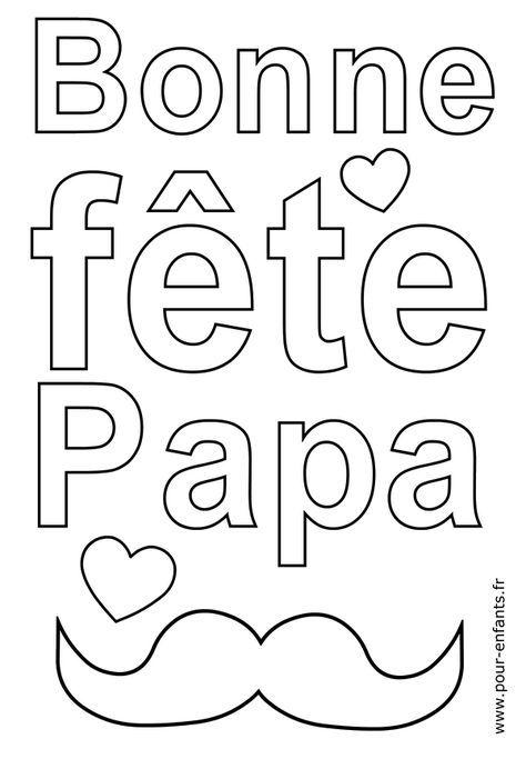 Coloriage Bonne Fete Papa Avec Moustaches A Imprimer Et Colorier