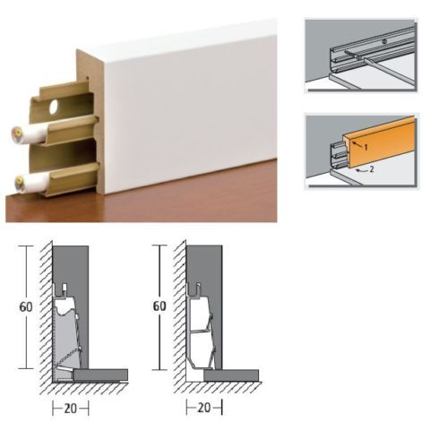 details zu 200 m fu leiste wei ska nt 2060 80 st. Black Bedroom Furniture Sets. Home Design Ideas