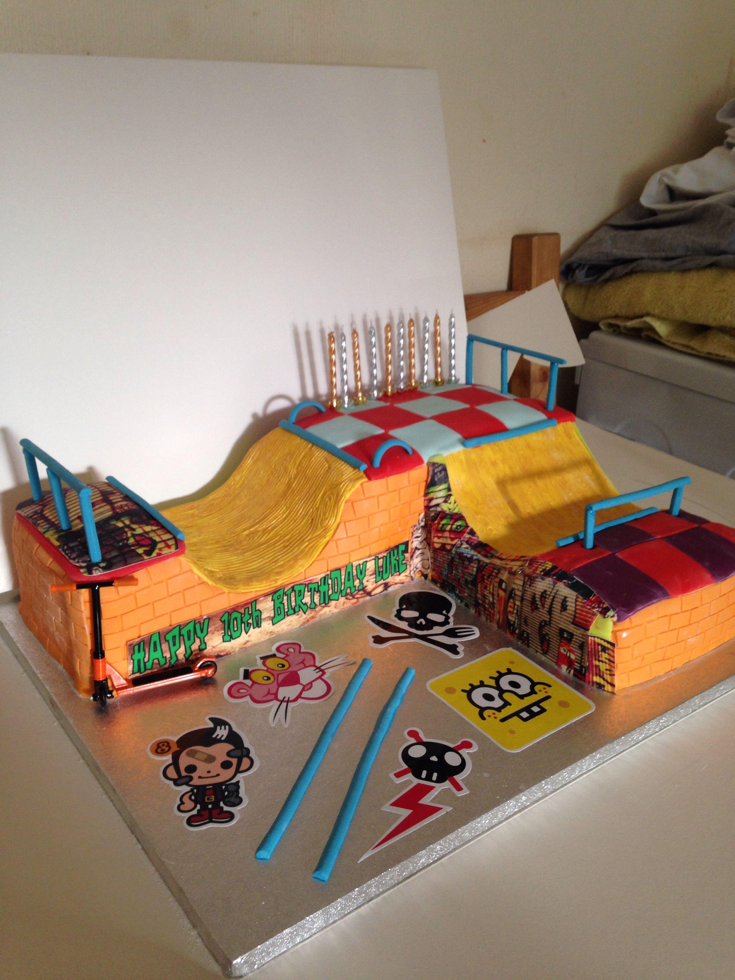 Half Pipe Skateboarding Cake