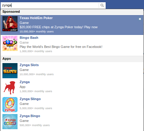 Facebook Sponsored Search Results