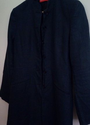 Col Lin Veste Longue Épaulettes Unie Bleu Marine Mao Dressing qxBgT7B6