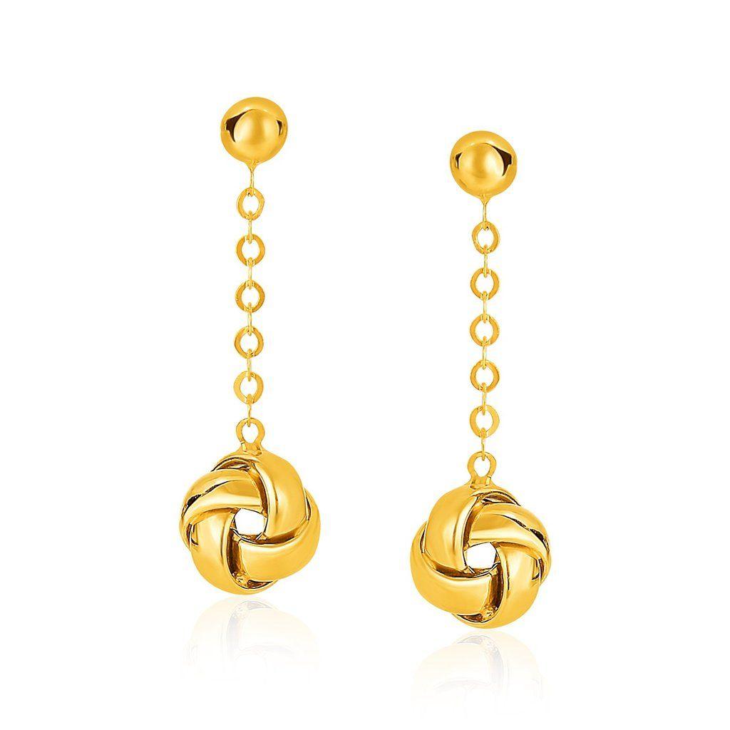 Mia Diamonds 14k Yellow Gold Love Knot Earrings
