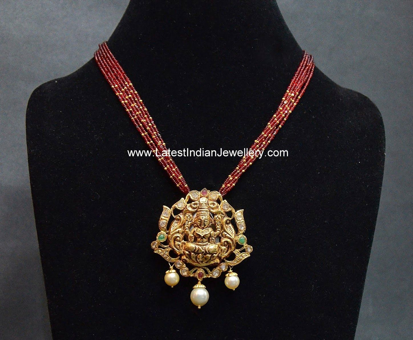 22 carat gold floral designer pendant with multiple beads chain and - Ruby Beads Chain Lakshmi Pendant