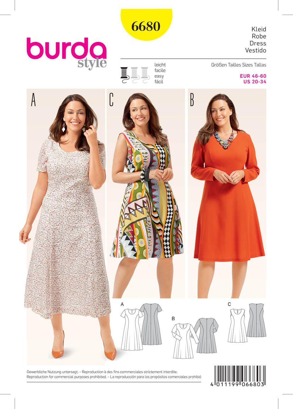 Burda 6680 Women S Dress Dress Sewing Patterns Pattern Fashion