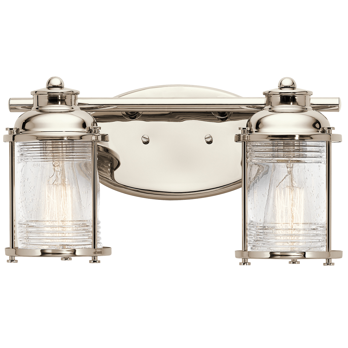 Ashland Bay Light Bath Light In Polished Nickel PN Bright - Polished nickel bathroom light fixtures