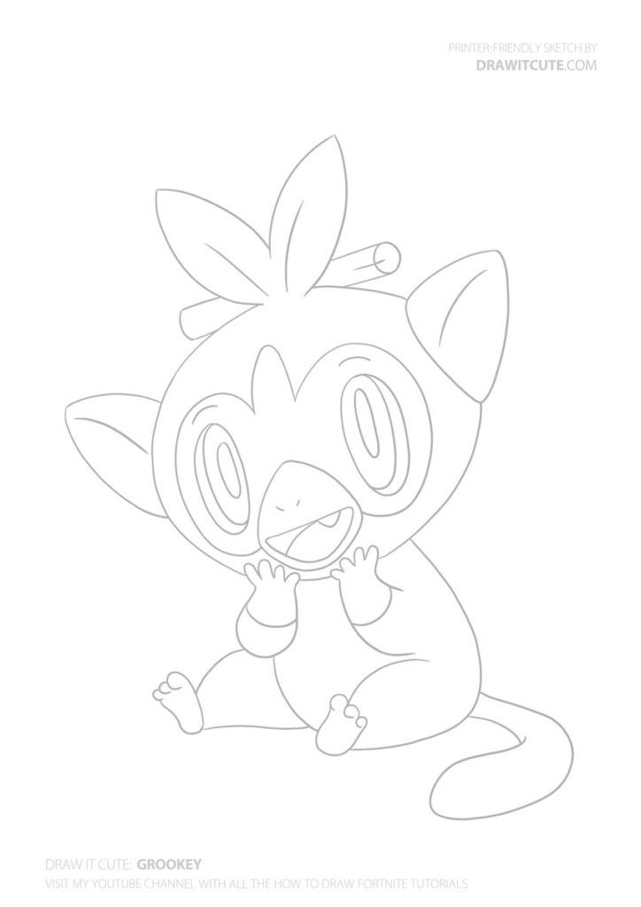 How To Draw Grookey Pokemon Draw It Cute Pokemongo Pokemon Pikachu Draw Drawings Howto Howtodraw Color Cute Coloring Pages Bunny Drawing Drawings
