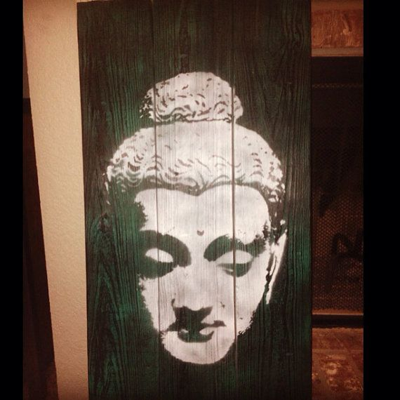 Female Buddha Head Stencil On Hand Fastened And By