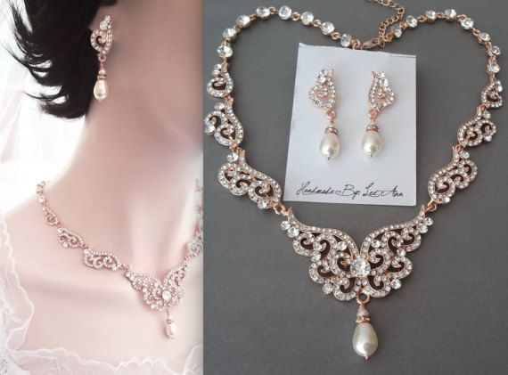 Rose gold pearl set Swarovski pearl jewelry set Rose gold jewelry